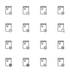 Books line icons set vector