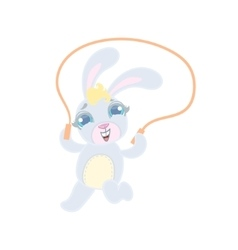 Bunny jumping with skip rope vector