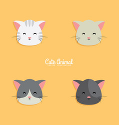 cat cartoon faces vector image vector image