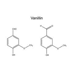 Chemical formula of vanillin vector image