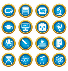 education icons blue circle set vector image vector image
