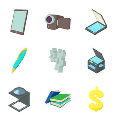 Film project icons set cartoon style vector