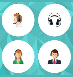 Flat call set of secretary earphone hotline and vector