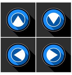 four white blue arrows - black shadows vector image vector image
