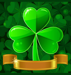 Green Patricks greeting card with clover vector image vector image