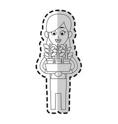 Happy farmer icon image vector