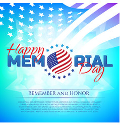 happy memorial day greeting card with national vector image vector image