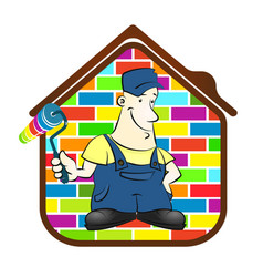 house painter with roller and a paint vector image
