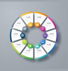 infographics template 10 options with circle vector image