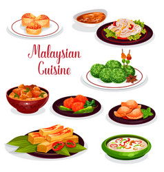 Malaysian cuisine restaurant dinner icon design vector