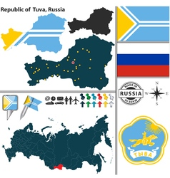 Map of Republic of Tuva vector image vector image