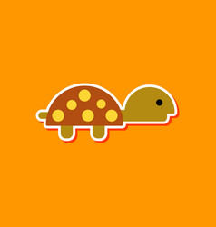 Paper sticker on stylish background sea turtle vector