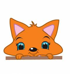 peeking fox vector image vector image