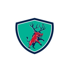 Razorback antlers prancing crest retro vector