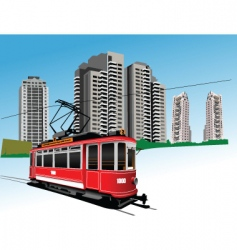 red tram vector image vector image