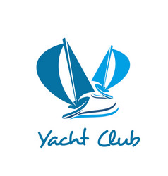 sailing ship or boat icon for yacht club design vector image vector image