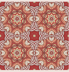Seamless doodle pattern ethnic motives cream and vector