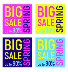set of four big sale banners geometric memphis vector image