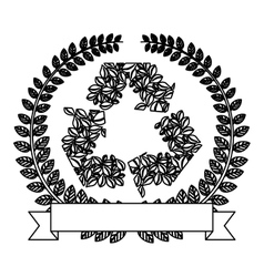 Silhouette ornament of leaves with recycled symbol vector