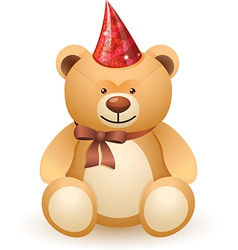 The bear toy with a bow and festive cap vector image vector image