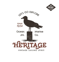 Vintage hand drawn label design seagull symbol vector