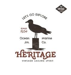 Vintage hand drawn label design Seagull symbol vector image