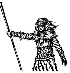 Warrior girl from a wild tribe with a spear vector