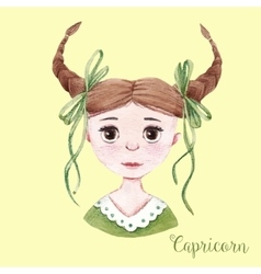 Watercolor horoscope sign capricorn vector