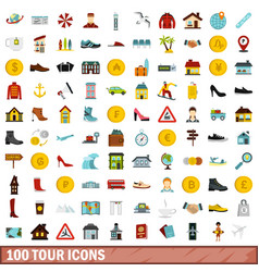 100 tour icons set flat style vector