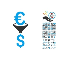 Euro dollar conversion filter icon with 2017 year vector