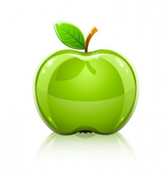Glass green apple with leaf vector