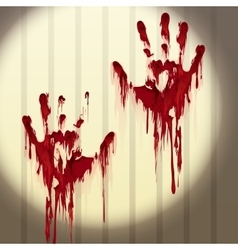 Bloody hand prints on a wall vector