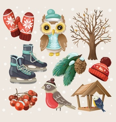 Set of winter items and elements vector