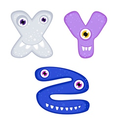 Funny toothy monster alphabet from x to z vector