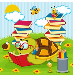 Turtle reading book vector