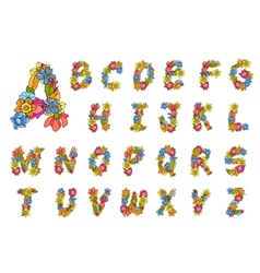 Flowers alphabet colored vector