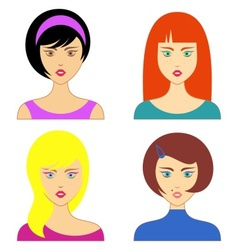 Woman faces vector