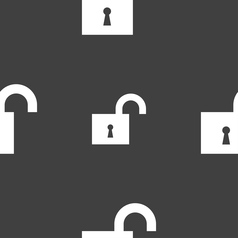 Open lock icon sign seamless pattern on a gray vector