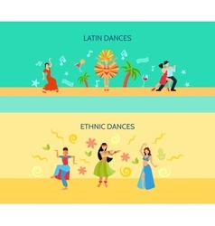 Horizontal flat dance style banners vector