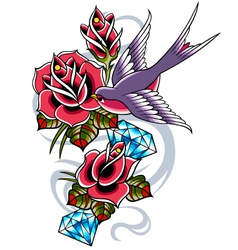 bird with rose flower vector image