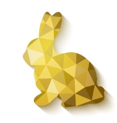 Flat design polygon of golden easter bunny vector