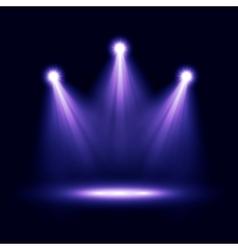 Three realistic spotlights lighting vector image