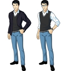 Asian office clerk in casual formal wear vector