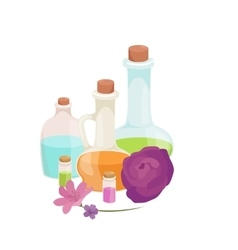 Bottles with organic essential aroma oil and soap vector