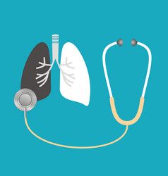 A stethoscope listens to the lungs vector