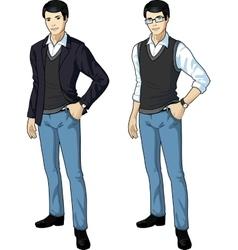Asian office clerk in casual formal wear vector