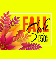 autumn sale background with fall leaves vector image vector image