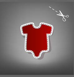 Baby cloth red icon with for vector