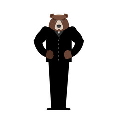 Bear manager businessman in suit wild animal vector