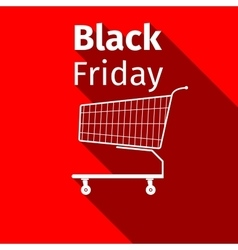 Black friday sale Shopping cart flat icon with vector image vector image